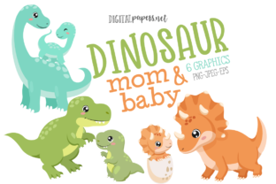 Print on Demand: Dinosaur Mom & Baby Clipart Graphic Illustrations By DigitalPapers