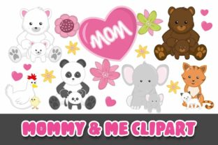 Print on Demand: Mommy and Me Clipart PNG Graphic Illustrations By Grafixeo