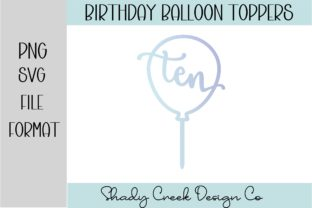 Ninth Birthday Balloon Cake Topper Graphic 3D SVG By Shady Creek Design Company