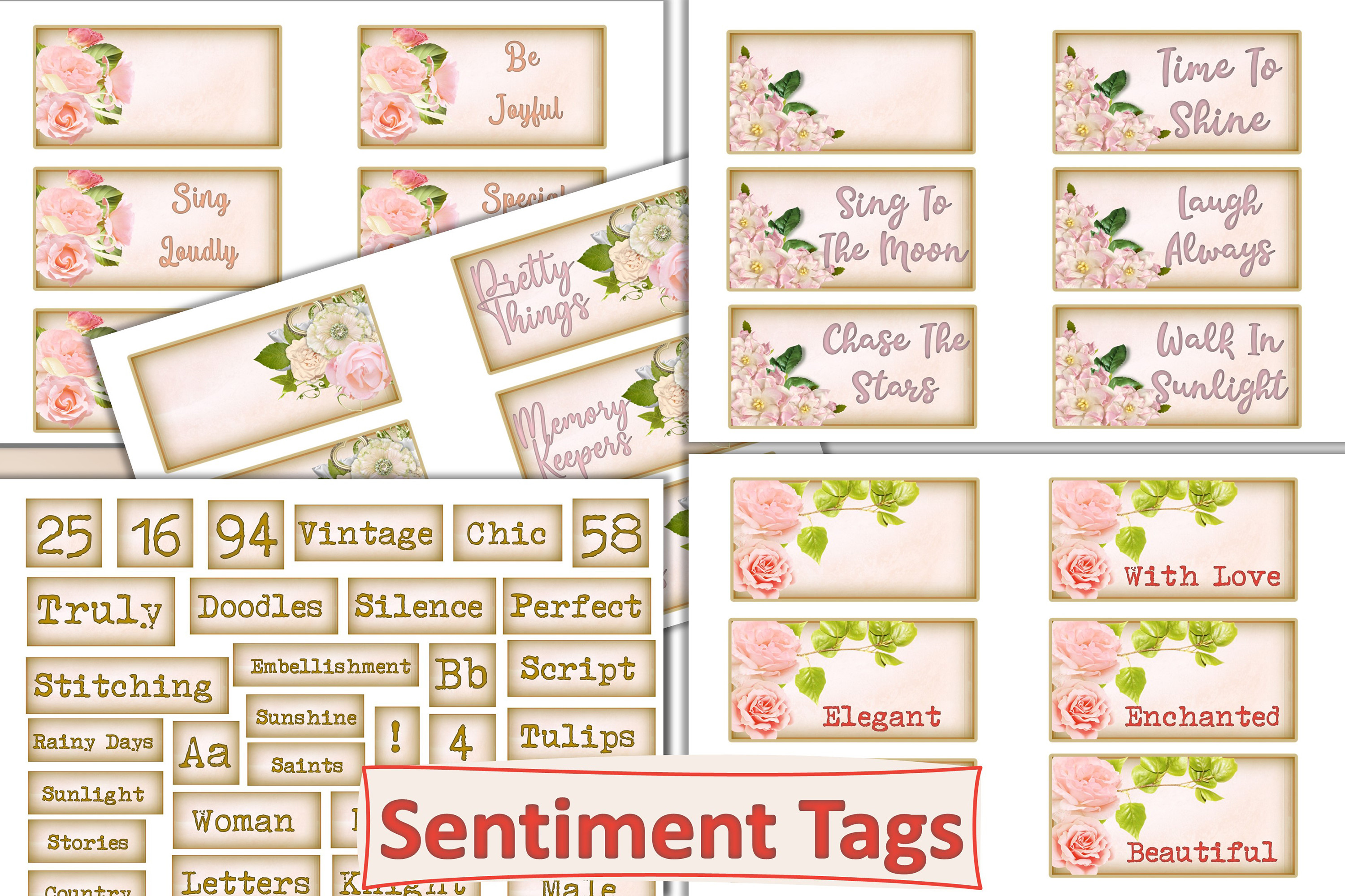 Shabby Chic Sentiment Tags SVG File