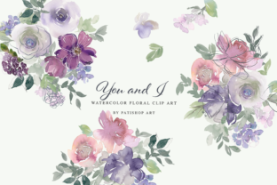 Watercolor Blush Purple Floral Graphics Graphic Illustrations By Patishop Art