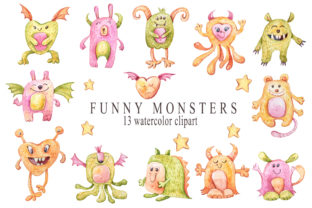Print on Demand: Watercolor Nursery Cute Monsters Clipart Graphic Illustrations By Tiana Geo