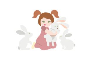 Girl with Bunny Rabbits Easter Craft Cut File By Creative Fabrica Crafts