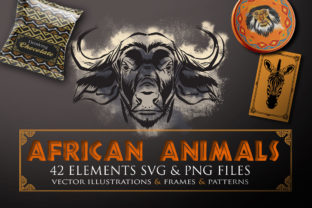 Print on Demand: African Animals Illustrations SVG & PNG Graphic Crafts By Novart