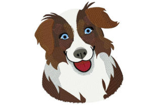 Print on Demand: Australian Shepherd Portrait Dogs Embroidery Design By Dizzy Embroidery Designs