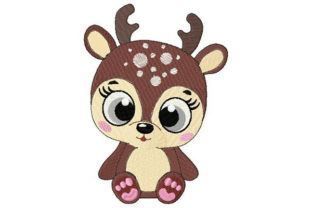 Baby Deer with Cute Eyes Animales bebés Diseños de bordado Por Dizzy Embroidery Designs