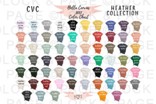 Bella Canvas 3001 Heathers Color Chart Graphic Product Mockups By lockandpage