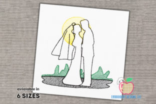 Bride and Groom in Love Quick Stitch Wedding Family Embroidery Design By embroiderydesigns101