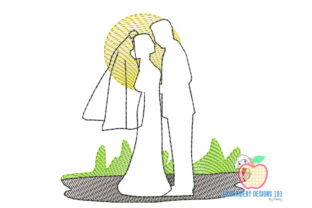 Bride and Groom in Love Quick Stitch Wedding Family Embroidery Design By embroiderydesigns101 2