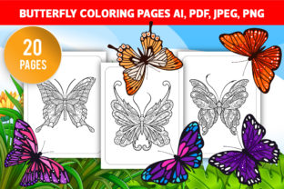 Butterflies Coloring Pages for Adult KDP Graphic Coloring Pages & Books Adults By GRAPHICSMINE