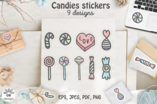 Candies Stickers. Printable 9  Design. Graphic Illustrations By OK-Design