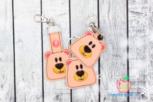 Cartoon Bear Face Keyfob Keychain ITH Wild Animals Embroidery Design By embroiderydesigns101