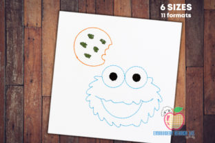Cartoon Cookie Monster Sketch Fairy Tales Embroidery Design By embroiderydesigns101