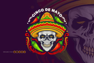 Print on Demand: Cinco De Mayo Mexican Skull with Hat SVG Graphic Illustrations By artgrarisstudio