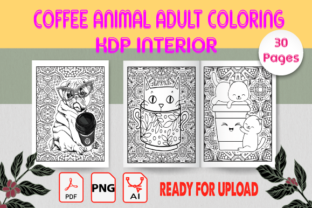 Coffee Animals Adult Coloring Book Graphic KDP Interiors By Creative_Touch21