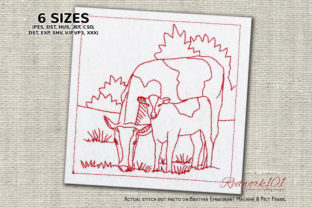 Cow with Calf in the Field Farm Animals Embroidery Design By Redwork101