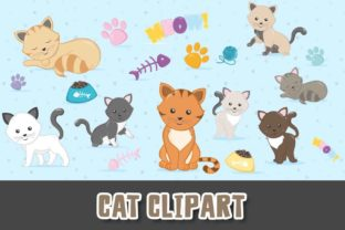Print on Demand: Cute Cat Clipart Pet PNG Graphic Illustrations By Grafixeo
