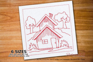 Cute Little House Bluework Cities & Villages Embroidery Design By Redwork101