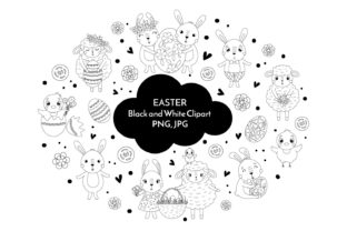 Easter Black and White Clipart PNG40 Graphic Crafts By KozaDereza