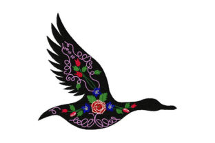 Flying Black Bird with Vintage Flowers Birds Embroidery Design By Dizzy Embroidery Designs