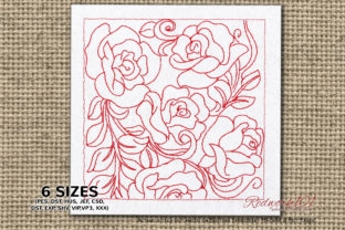 Fresh Beautiful Roses Bouquets & Bunches Embroidery Design By Redwork101 1