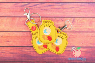 Funny Hairy Monster ITH KeyFob Snaptab Backgrounds Embroidery Design By embroiderydesigns101