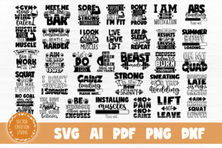 Print on Demand: Gym Motivation SVG Bundle Cut Files Graphic Crafts By VectorCreationStudio