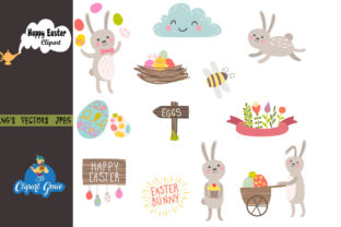 Print on Demand: Happy Easter Clipart Bundle Graphic Illustrations By clipartgenie