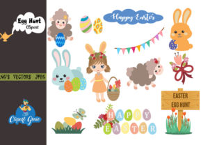 Print on Demand: Happy Egg Hunt Clipart Bundle Graphic Illustrations By clipartgenie