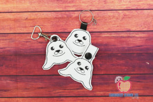 Harp Seal ITH Keyfob Marine Mammals Embroidery Design By embroiderydesigns101
