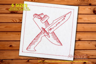 Hunting Knife Bluework Camping & Fishing Embroidery Design By Redwork101