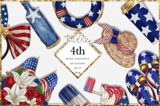 Print on Demand: Independence Day Clipart Set Graphic Illustrations By TheGGShop