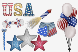 Print on Demand: Independence Day Clipart Set Graphic Illustrations By TheGGShop 3