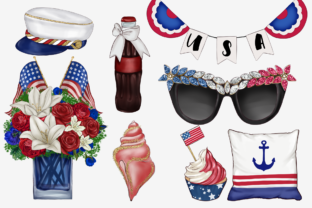 Print on Demand: Independence Day Clipart Set Graphic Illustrations By TheGGShop 4