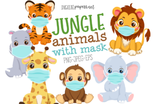 Print on Demand: Jungle Animals with Mask Clipart Set Graphic Illustrations By DigitalPapers