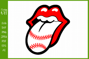 Luscious Lips with Tongue and Baseball Graphic Crafts By SeleART