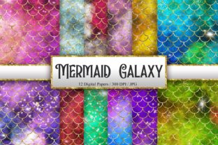 Print on Demand: Mermaid Scales Galaxy Glitter Background Graphic Backgrounds By PinkPearly