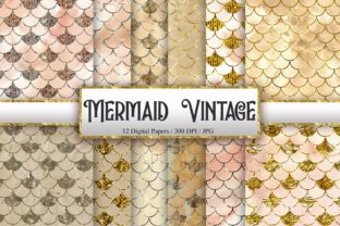 Print on Demand: Mermaid Scales Vintage Background Graphic Backgrounds By PinkPearly
