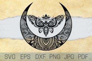 Print on Demand: Moth Moon SVG Graphic Crafts By Cnxsvg
