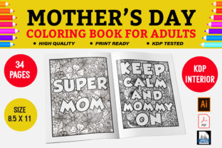Mothers Day Coloring Book Graphic Coloring Pages & Books Adults By KDP Empire