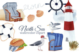 Print on Demand: North Sea Nautical Watercolor Clipart Graphic Illustrations By s.yanyeva