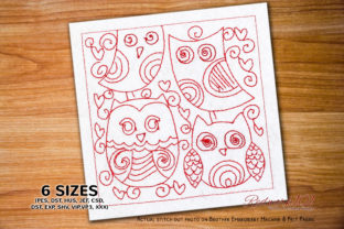 Owl Lineart Birds Embroidery Design By Redwork101