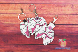 Ribbon Bow ITH KeyFob Snaptab Clothing Embroidery Design By embroiderydesigns101