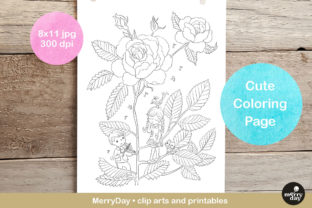 Rose Flower Cute Coloring Page Graphic Coloring Pages & Books By MerryDay