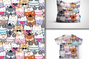 Seamless Pattern Kawaii Cute Cats Graphic Patterns By lindoet23