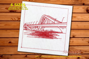Sheikh Zayed Bridge Lineart Cities & Villages Embroidery Design By Redwork101