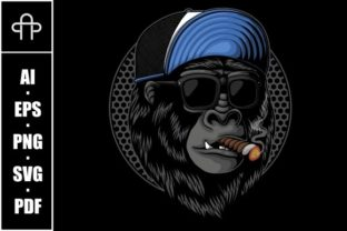 Print on Demand: Smoked Gorilla Head Vector Illustration Graphic Illustrations By Andypp