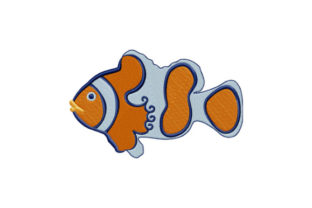 Print on Demand: Stylized Clown Fish Fish & Shells Embroidery Design By EmbArt