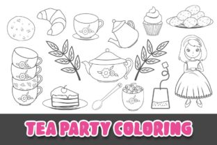 Print on Demand: Tea Party Coloring Outlines Clipart Graphic Illustrations By Grafixeo