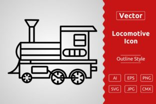 Print on Demand: Vector Steam Locomotive Outline Icon Des Graphic Icons By Muhammad Atiq